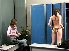 Sweet swimmer spied on in a pool locker room
