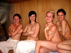 Beautiful sluts posing in the sauna shots