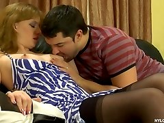Black-stockinged cutie put to sleep and tricked into kinky nylon screwing