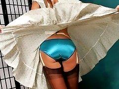 Fan blows up a pretty girls skirt