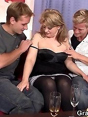 Some money convinces this old hag to allow horny dudes to ream open her body.