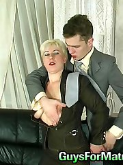 Lascivious mature chick having fucking break on sofa with kinky co-worker