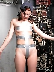 Electrician gets her body covered with tape