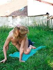 Sunbathing and masturbating gf caught cheating outdoors with her bfs father