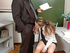 Old teacher forgets to zip his fly and finds a schoolgirl gagging on his dick during a class