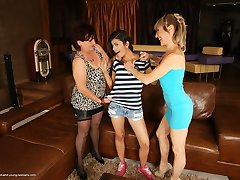Three old and young lesbians get naughty