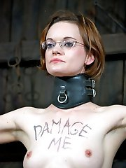 The words scrawled across Hazel Hypnotics chest give a simple request, Damage Me. Gladly....