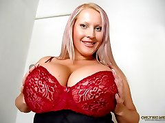 Laura Orsolya using a suction device on her melons and pussy