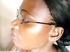 Cute ebony gets mouthful of jizz