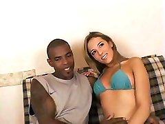 Babe enjoys interracial fuck