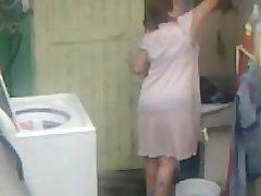 Spying Aunty Ass Washing ... Big Butt Chubby Plumper Mom