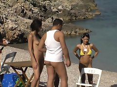 Babes fuck in beach game