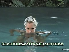 Lena lovely blonde babe fingering her pussy by the pool