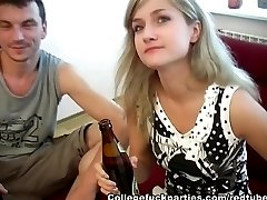 Blonde college party girl drilled in all holes