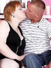 Naughty BBW Elisha performs excellent oral before a hunk dips his dick into her bushy muff