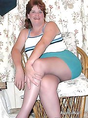 Swinger wife in pantyhose with big dildo