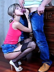 Adorable girl fucked in her skimpy denim skirt and classy black stockings