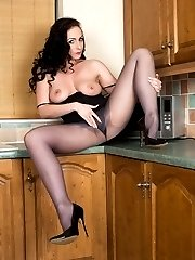 Sophia getting steamed up in the kitchen in her sheer pantyhose and satin panties!