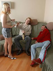 Horny guys seducing a drunk blonde in sheer hose into a hot gangbang party