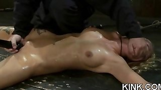 Naughty brunette office babe in stockings Kate Jones gives blowjob and fucks a massive dick