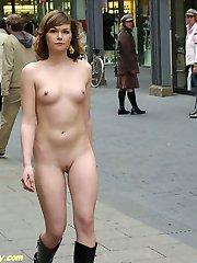 Sweet babe nude in public