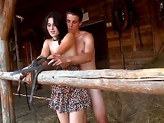 She looks so cute, but this brunette hottie wants him to bound her together with the leather straps that they find on this farm. She likes to lose control.