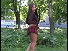 Teen schoolgirl posing in public buck ass naked