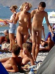 Hidden camera on the public beach