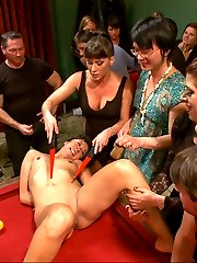 It is possible that sweet little Vivi might be enjoying herself too much! Thrown over a pool table, face fucked, pussy pounded, pile driver. Ariel X dishes out the humiliation, and tries to get a rise out of this selfish little attention whore who has no problem offering up her tight little body to the whole crowd.