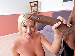 Blond sweetie sucks a huge black meat