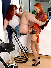 Redhead chick and her sissy guy aching to try out her newly bought strap-on