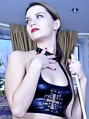 Leather clad mistress throats and butt bangs her sub in the billiard room
