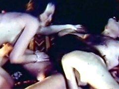 Two retro girls sharing guy