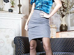 Chloe likes to relax in her vintage nylons after a long day at work, stripping of her satin...