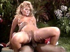 Licking a blonde retro muff