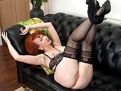 Red in see through floral dress stripping down to her black lingerie!