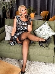 Lucy Zara dressing to please in semi-sheer dress and ff nylons!