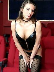 Beauty brunette fits latex body