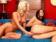 Two babes experiment with buttplugs