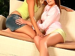 Hot teens lap and rub tight holes