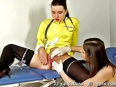 Lesbian gynecologist excited with a tight pussy sight