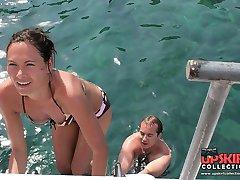 Girls in bikinis on downblousing pics