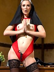 In her first shoot ever, Audrey Noir plays a curious virgin nun in training who is caught exploring her sexual fantasies by twisted Sister Mona Wales. Sister Mona seeks divine guidance though a meditative masturbation session which leads her to punish postulant Audrey with OTK spanking, flogging, cropping, nipple clamps, bondage, humiliation, ass worship, and multiple orgasms. Sister Mona ultimately fills Audrey\'s spiritual void with strap on vaginal and strap on anal, leaving her cum drunk and basking in her profane desires.