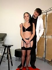Severe leather strapping on bare assed babe