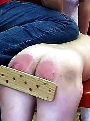 Naked school girl severely punished in front of her classmates - bruised swollen buttocks