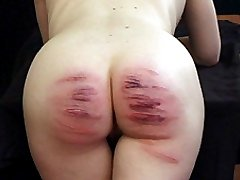 Two litle lovelies thrashed in the gym - hot bare bottoms