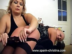 Very cute blonde gets caned hard on her upturned ass - burning hot buttocks