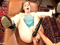 Girl next door, Dolly Leigh, visits Kirsten Price's psychiatric office in hopes of curing her obsessive sexual spanking fantasies. The hot doctor uses unconventional methods including OTK spanking, finger banging, pussy licking, face sitting, a butt plug, flogging, leather straight jacket, multiple lesbian orgasms, pussy and anal strap-on fucking!