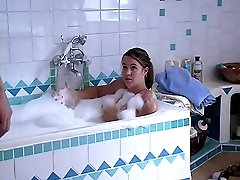 Bathtime beating on her wet young buttocks - hard stinging strokes