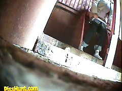 Old and young pissers peeing in front of spy cam
